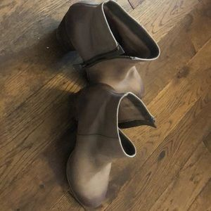 Gray – brown leather booties